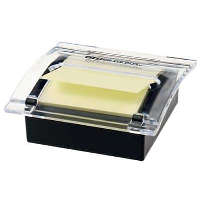 Office Depot Z-Notes Dispenser Black with Sticky Z-Notes Yellow 76 x 76 mm 100 Sheets