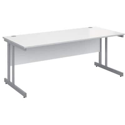 Rectangular Straight Desk with White MFC Top and Silver Frame Cantilever Legs Momento 1800 x 800 x 725 mm