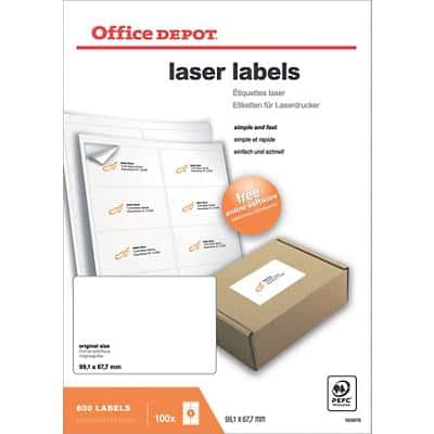 Office Depot 1659076 Labels Self Adhesive 99.1 x 67.7 mm White 100 Sheets of 8 Labels