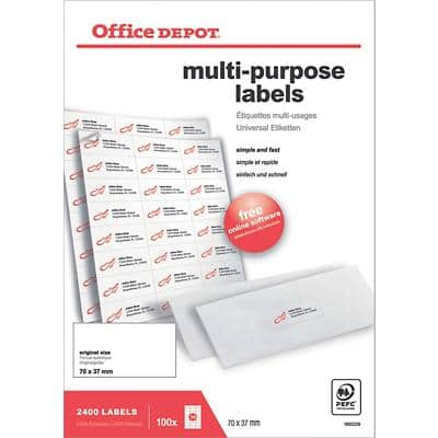 Office Depot Multifunction Labels Self Adhesive 70 x 37 mm White 100 Sheets of 24 Labels