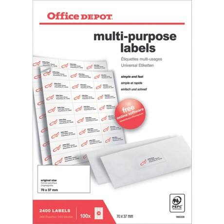 Office Depot Multipurpose Labels Just Corners White 2400 labels per pack