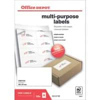 Office Depot 1666011 Multipurpose Labels 105 x 57 mm White 105 x 57 mm 100 Sheets of 10 Labels