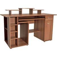 Alphason Rectangular Computer Workstation with Walnut Melamine Top and 1 Drawer San Diego 1420 x 595 x 900 mm
