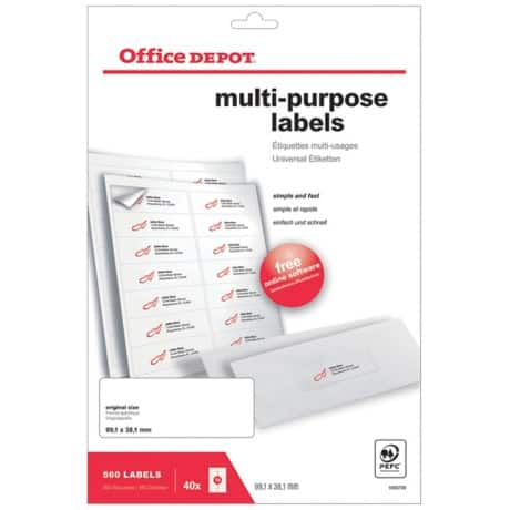 Office Depot Multipurpose Labels Round Corners White 560 labels per pack