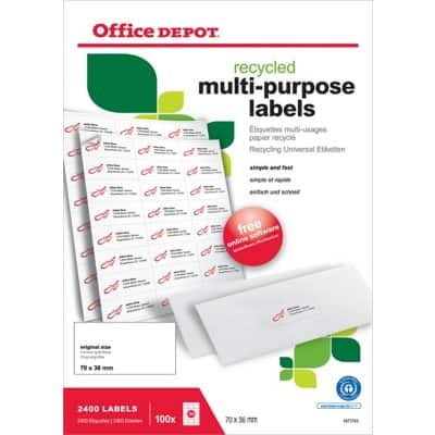 Office Depot 1671743 Multipurpose Labels 70 x 36 mm White 70 x 36 mm 100 Sheets of 24 Labels