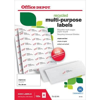 Office Depot Multifunction Labels Self Adhesive 70 x 36 mm White 100 Sheets of 24 Labels