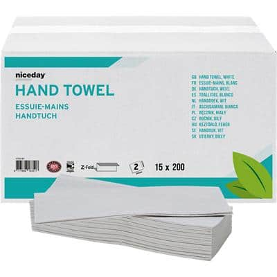 Niceday Professional Hand Towels Standard 2 Ply Z-fold White 15 Pieces of 200 Sheets