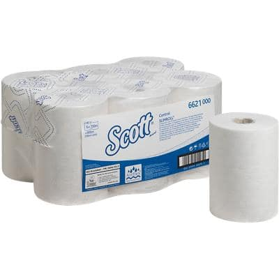 Scott Hand Towels Control 6621 1 Ply Rolled White 6 Rolls of 600 Sheets