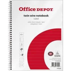 Office Depot Wirebound Notebook White, Red Ruled micro perforated A5+