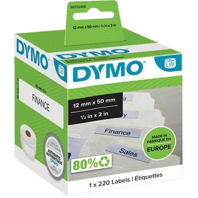 DYMO LW S0722460 Suspension File Labels, Authentic, Self Adhesive, White 12mm x 50 mm, 220 Labels