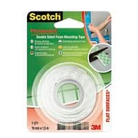 Scotch Permanent Double Sided Foam Mounting Tape 19mm x 1.5m White
