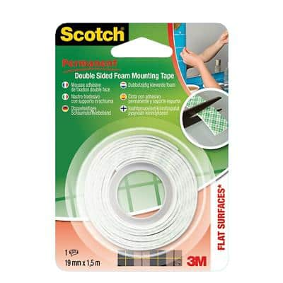 Scotch Double Sided Mounting Tape White 19mm x 1.5m Permanent