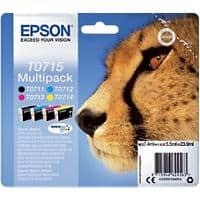 Epson T0715 Original Ink Cartridge C13T07154012 Black & 3 Colours Pack of 4