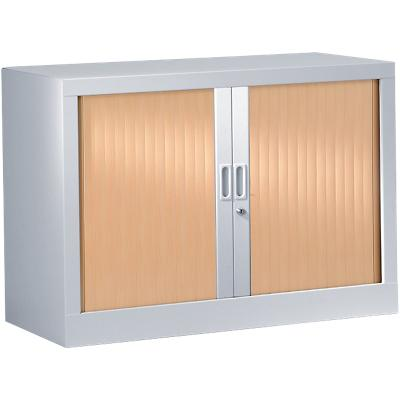 Pierre Henry Tambour Cupboard Lockable with 1 Shelf Steel Generic 1000 x 430 x 695mm Silver & Beech