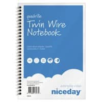Niceday Twin Wire Notebook A5 Squared Blue, White 50 sheets Pack of 5