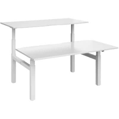 Elev8² Rectangular Sit Stand Back to Back Desk with White Melamine Top and White Frame 4 Legs Touch 1600 x 1650 x 675 - 1300 mm