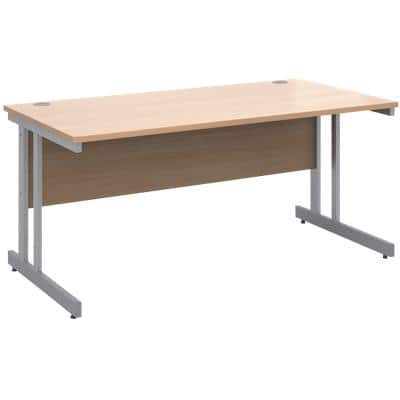 Rectangular Straight Desk with Beech Coloured MFC Top and Silver Frame Cantilever Legs Momento 1600 x 800 x 725 mm