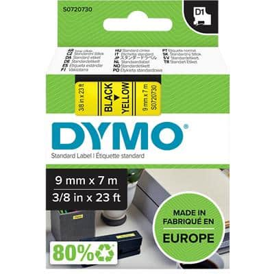 DYMO D1 40918 Label Tape, Authentic, Self Adhesive, Black Print on Yellow 9 mm x 7 m