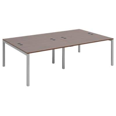 Dams International Rectangular Double Back to Back Desk with Walnut Melamine Top and Silver Frame 4 Legs Connex 2400 x 1600 x 725mm