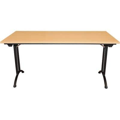 Realspace Rectangular Folding Table with Beech Coloured Melamine Top and Black Frame Standard 1800 x 800 x 750mm