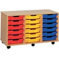 Storage Unit with 18 Trays MSU3/18 BL 700 x 495 x 810mm Beech & Blue