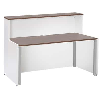 Dams International Rectangular Reception Desk with Walnut Melamine Top and White Frame Adapt 1662 x 890 x 1125mm