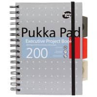 Pukka Pad Metallic Executive A5 Wirebound Grey Cardboard Cover Project Book Ruled 200 Pages Pack of 3