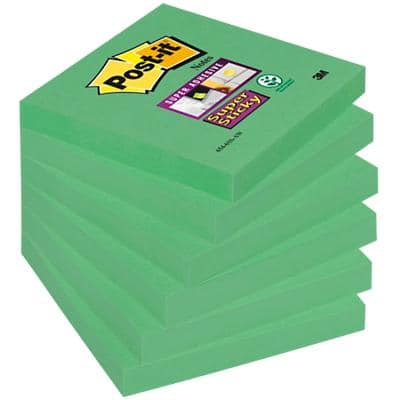 Post-it Super Sticky Notes 76 x 76 mm Evergreen Colour 6 Pads of 90 Sheets