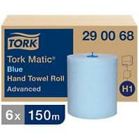 Tork Hand Towels H1 Matic Advanced 2 Ply Rolled Blue 6 Rolls of 625 Sheets
