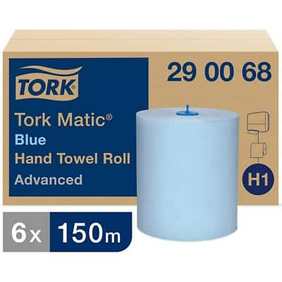 Tork Advanced Hand Towel Blue Roll 290068 - H1 Paper Towels for Paper Towel Dispenser, Absorbent, tear resistant, Traceable Origin, 2-ply, Blue - 6 Rolls x 150 m