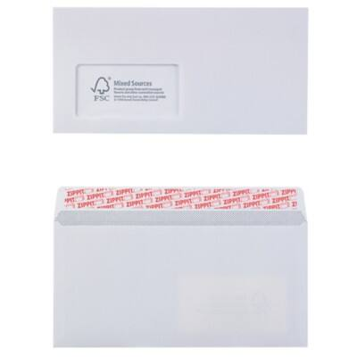 Office Depot DL Envelopes 100gsm White window Peel and Seal 110 x 220 mm Pack of 500