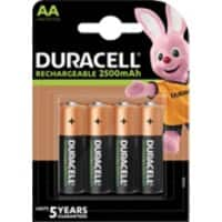 Duracell AA Rechargeable Batteries Ultra Power LR6 2500mAh NiMH 1.2V Pack of 4
