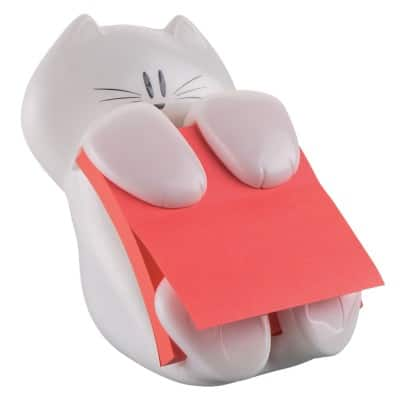 Post-it Cat Z-Note Dispenser with 1 Pad of Poppy Super Sticky Notes 90 sheets 76 x 76 mm
