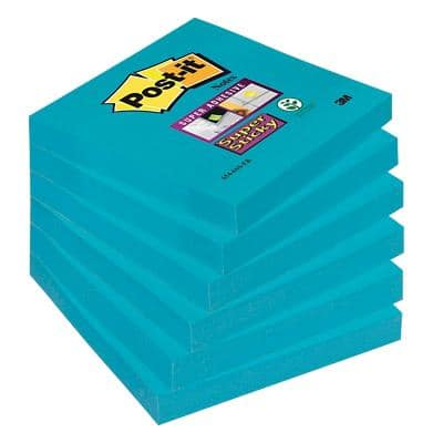 Post-it Super Sticky Notes 76 x 76 mm Mediterreanean Blue Colour 6 Pads of 90 Sheets