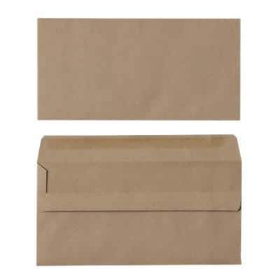 Office Depot Non Standard Envelopes 152 x 89mm Self Seal Plain 90gsm Brown Pack of 500