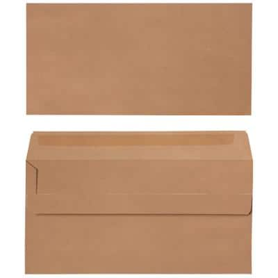 Office Depot DL Envelopes 220 x 110mm Self Seal Plain 90gsm Brown Pack of 500