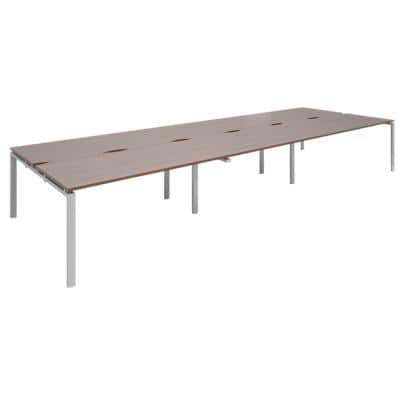 Dams International Rectangular Triple Back to Back Desk with Walnut Melamine Top and Silver Frame 4 Legs Adapt II 4800 x 1600 x 725mm
