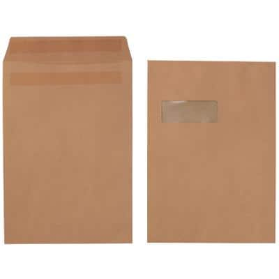 Office Depot C4 Envelopes 324 x 229mm Self Seal Window 90gsm Brown Pack of 250