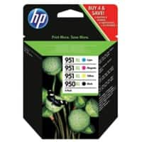 HP 950XL / 951XL Original Ink Cartridge C2P43AE Black & 3 Colours Pack of 4