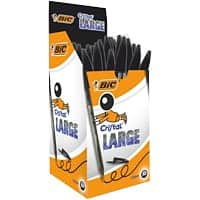 Bic Cristal Large Ballpoint Pen, Broad Tip - Black - Pack of 50