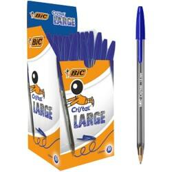 Bic Cristal Large Ballpoint Pen, Broad Tip - Blue - Pack of 50