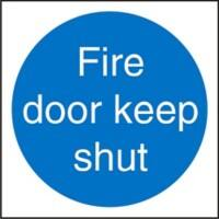 Fire Door Keep Shut Sign 10 x 10 cm Self Adhesive Vinyl