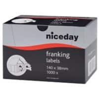 Niceday 2211776 Franking Labels Self Adhesive 140 x 38 mm White 1000 Labels