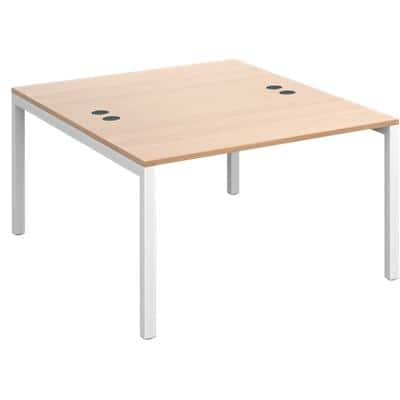Rectangular Back to Back Desk with Beech Coloured Melamine & Steel Top and White Frame 4 Legs Connex 1200 x 1600 x 725 mm