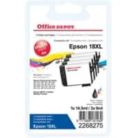 Office Depot Compatible Epson 18XL Ink Cartridge C13T18164012 Black & 3 Colours 4 Pieces