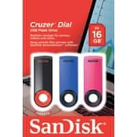 SanDisk USB Flash Drive Cruzer Dial 16 GB Assorted 3 Pieces