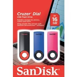 SanDisk USB Flash Drive SDCZ57-016G-B46T 16 gb Black, Blue, Pink 3 pieces