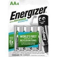 Energizer AA Rechargeable Batteries Extreme HR6 2300mAh NiMH 1.2V Pack of 4
