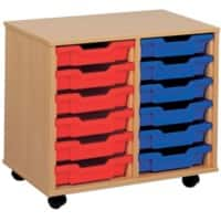 Storage Unit with 12 Trays MSU2/12 BL 700 x 495 x 650mm Beech & Blue