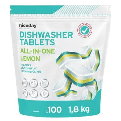 Niceday Professional All In One Lemon Dishwasher Tablets Phosphate Free Fresh Smell Pack of 100